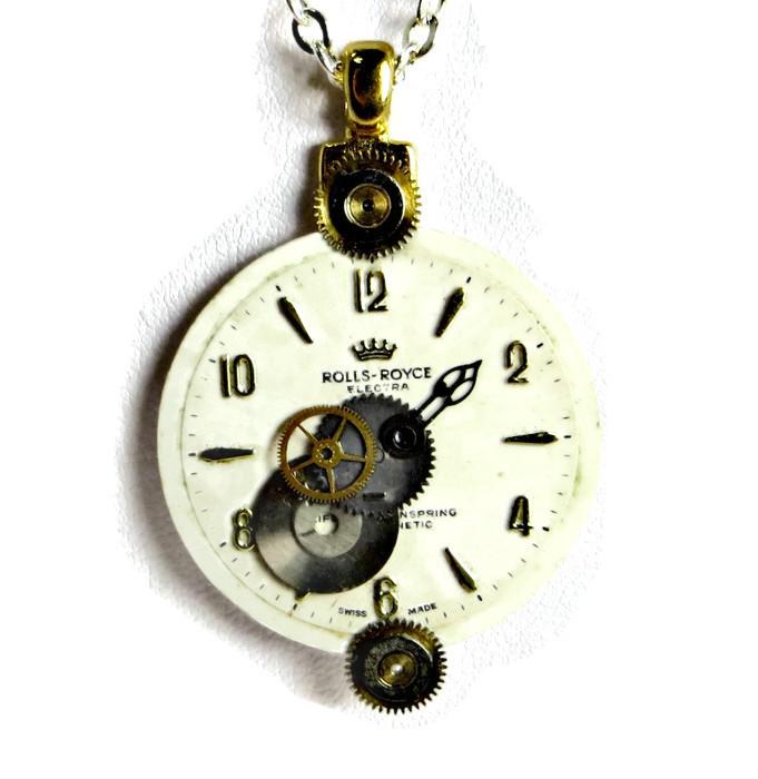 Steampunk vintage electra rolls royce watch face pendant january 13 2015 aloadofball Gallery